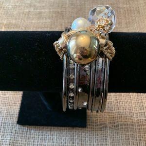 Silver Tone & White Rhinestone Bracelet